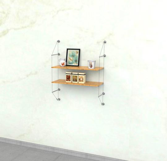Cable Shelving Unit for Two Wood Shelves, Wall Mounted