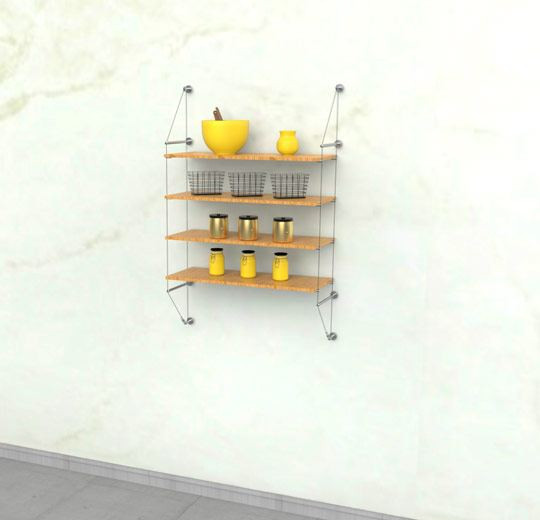 Cable Shelving Unit for Four Wood Shelves, Wall Mounted