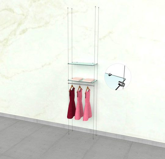 """Suspended Clothing Display Unit for Two Shelve and One 24"""" Hanging Rail - Cable"""
