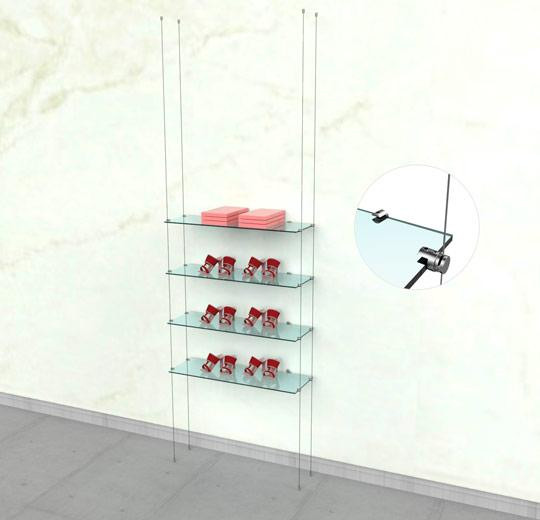 Suspended Shelving Unit for Four Glass Shelves with Wall Mounting Support - Cable
