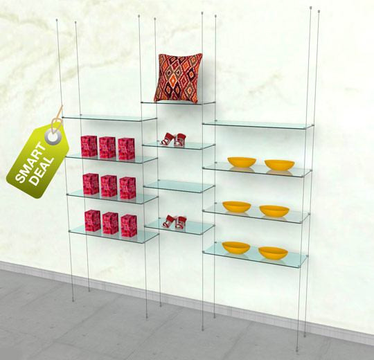 Suspended Shelving Unit for Twelve Glass Shelves - Cable Three Sections