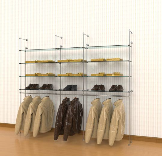 Tube Clothing Kit for 12 Glass Shelves 3 Hanging Rails, Wall Mounted