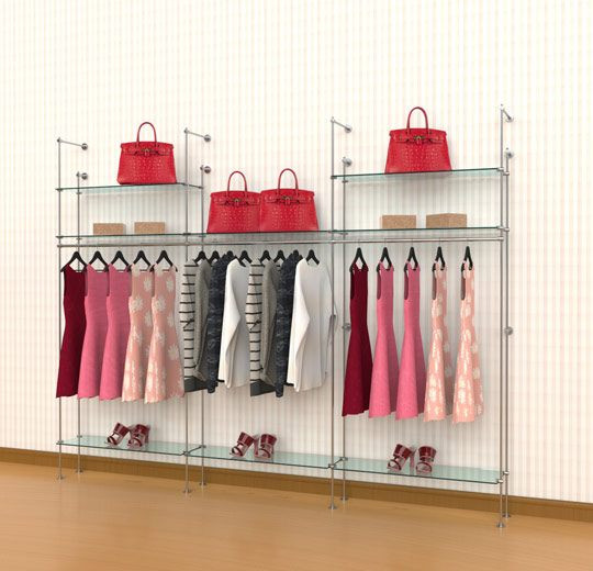 Tube Clothing Kit for 8 Glass Shelves 3 Hanging Rails, Wall Mounted