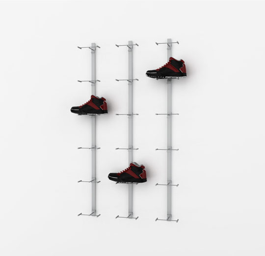 Metal Strip Displayer for Eighteen Shoes, Wall Mounted - Blade