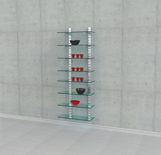"""Four 46"""" High Shelving Unit for Eight Glass Shelves with 14"""" Brackets, Wall Mounted - SlatStrip"""