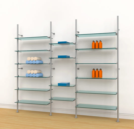 Aluminum Poles Shelving Unit for Sixteen Wood or Glass Shelves Wall Mounted  - Palo 3 Sections