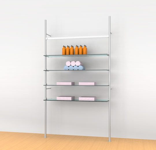 """Aluminum Poles Shelving Unit for Four 48"""" Wood or Glass Shelves with Support Hanging Rail, Wall Mounted  - Palo"""
