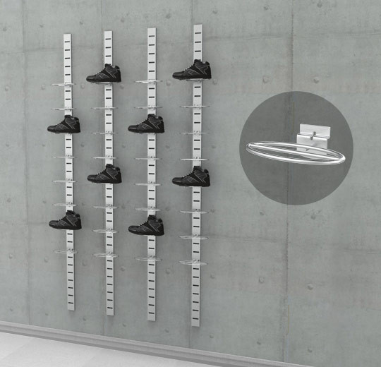 "Four 91"" SlatStrip, with 32 Shoe Displayer - Ellipse Wire Small Size,  Wall Mounted"