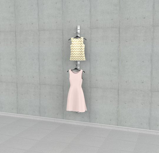 Clothing Display with Two Faceouts, Wall Mounted - SlatStrip
