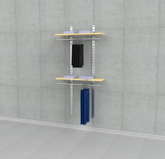 Shelving Display for Two Wood Shelves with Two Hanging Rails, Wall Mounted - SlatStrip