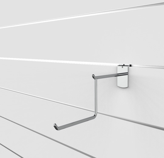 """SlatWall 12"""" Two Tier Wire Faceout, Chrome Finish - Concepto"""
