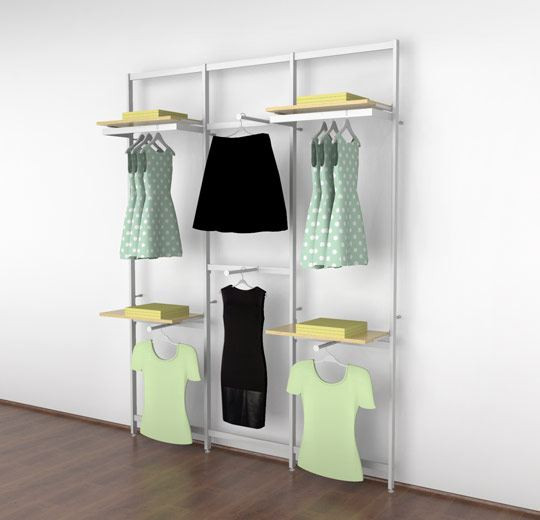 Clothing Display for Four Shelves with Four Faceouts and Two Hanging Rails, White Three Sections - Vertik
