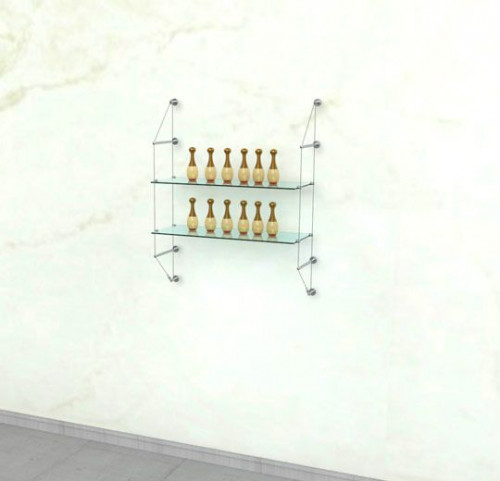 Cable Shelving Unit for Two Glass Shelves, Wall Mounted