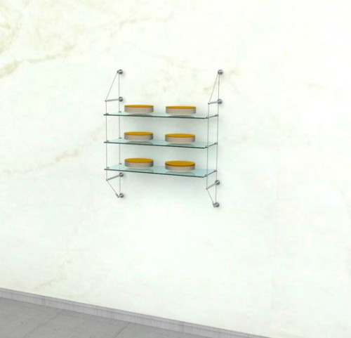 Cable Shelving Unit for Three Glass Shelves, Wall Mounted