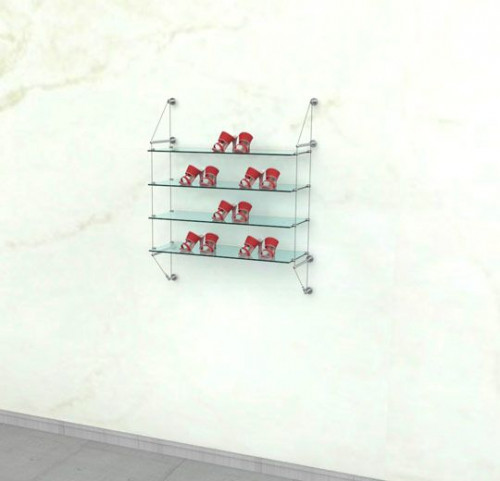 Cable Shelving Unit for Four Glass Shelves, Wall Mounted