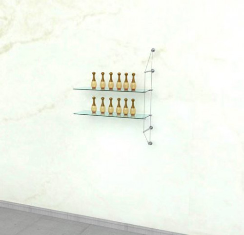 Cable Shelving Unit for Two Glass Shelves, Wall Mounted - Extension