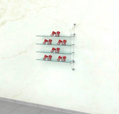 Cable Shelving Unit for Four Glass Shelves, Wall Mounted - Extension