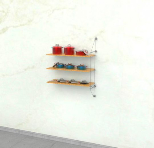 Cable Shelving Unit for Three Wood Shelves, Wall Mounted - Extension