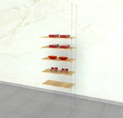 Suspended Shelving Unit for Five Wood Shelves - Cable Extension