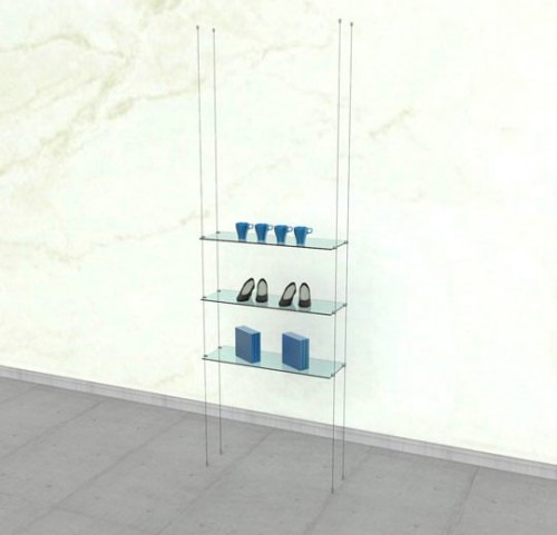 Suspended Shelving Unit for Three Glass Shelves - Cable