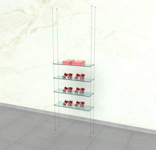 Suspended Shelving Unit for Four Glass Shelves - Cable