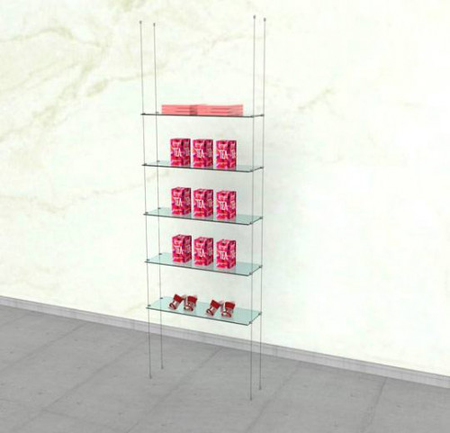 Suspended Shelving Unit for Five Glass Shelves - Cable