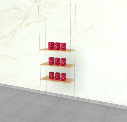 Suspended Shelving Unit for Three Wood Glass Shelves- Cable