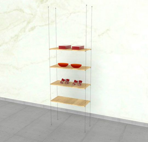 Suspended Shelving Unit for Four Wood Shelves - Cable