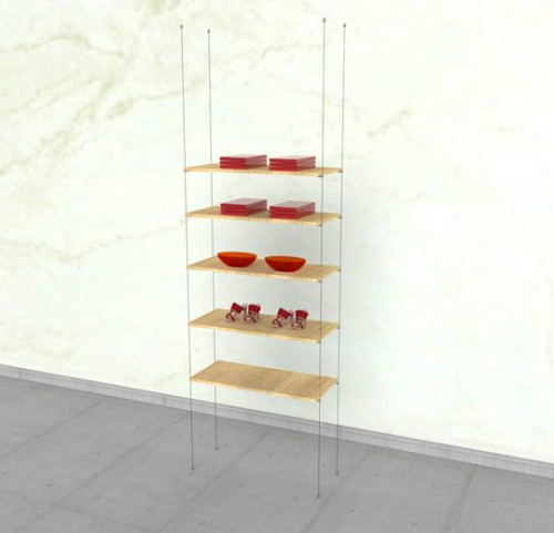 Suspended Shelving Unit for Five Wood Shelves - Cable