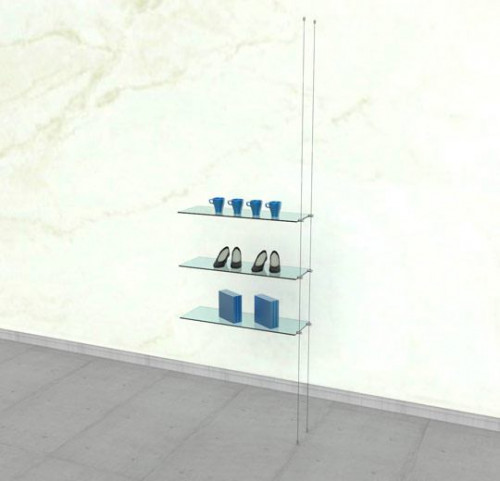 Suspended Shelving Unit for Three Glass Shelves - Cable Extension