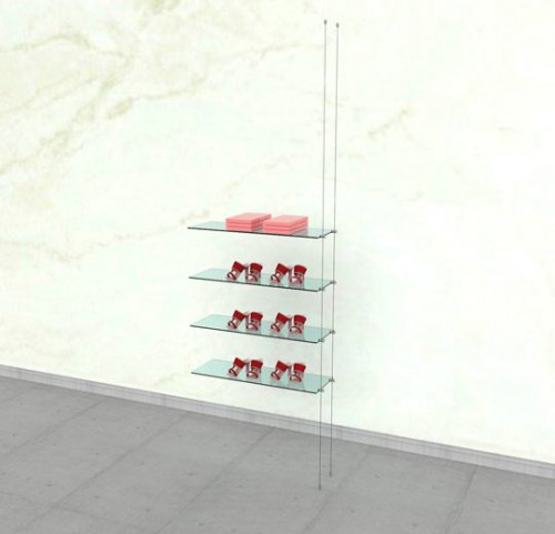 Suspended Shelving Unit for Four Glass Shelves - Cable Extension