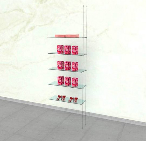 Suspended Shelving Unit for Five Glass Shelves - Cable Extension