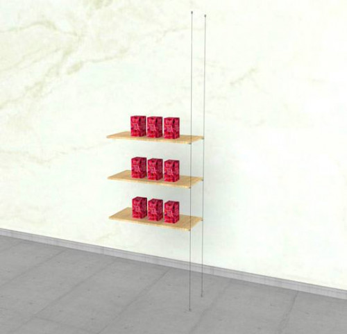 Suspended Shelving Unit for Three Wood Glass Shelves - Cable Extension