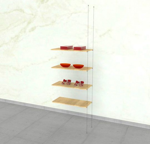 Suspended Shelving Unit for Four Wood Shelves - Cable Extension