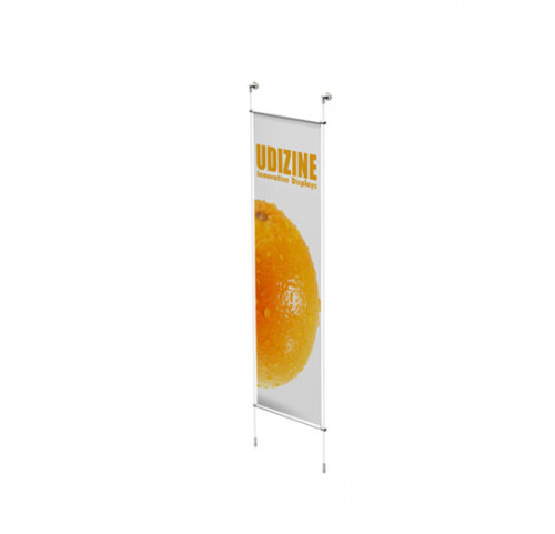 "Cable Signage Displayer for Banners with 3/4"" Tube, Wall Mounted to Floor"