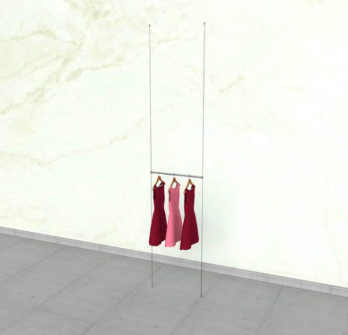 "Suspended Clothing Display Unit with One 24"" Hanging Rail - Cable"