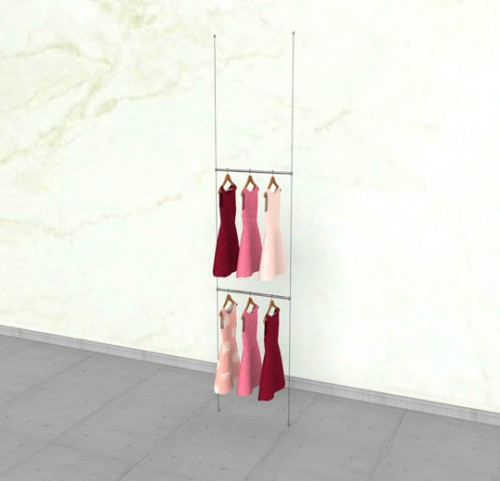 "Suspended Clothing Display Unit with Two 24"" Hanging Rails - Cable"