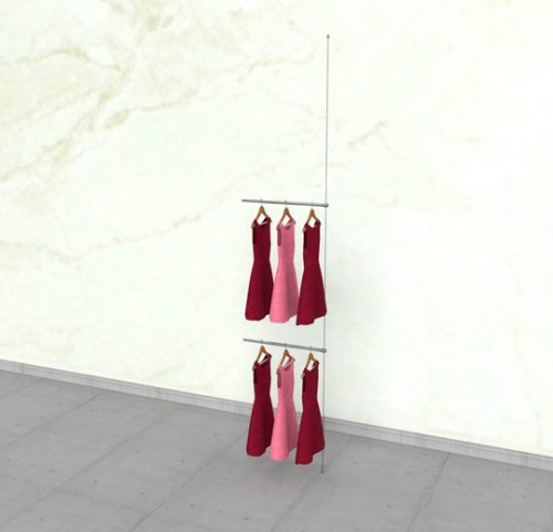 "Suspended Clothing Display Unit with Two 24"" Hanging Rails - Extension Cable"