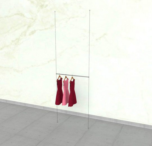 "Suspended Clothing Display Unit with One 36"" Hanging Rail - Cable"