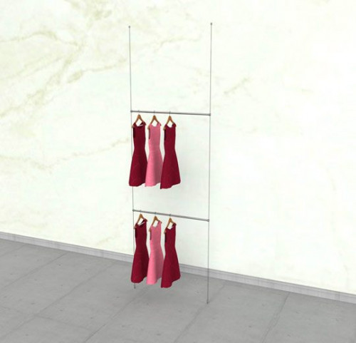 "Suspended Clothing Display Unit with Two 36"" Hanging Rails - Cable"
