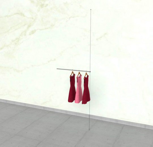 "Suspended Clothing Display Unit with One 36"" Hanging Rail - Extension Cable"
