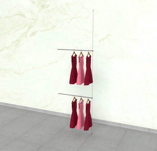 "Suspended Clothing Display Unit with Two 36"" Hanging Rails - Extension Cable"