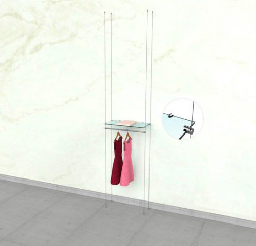 "Suspended Clothing Display Unit for One Shelve and One 24"" Hanging Rail - Cable"