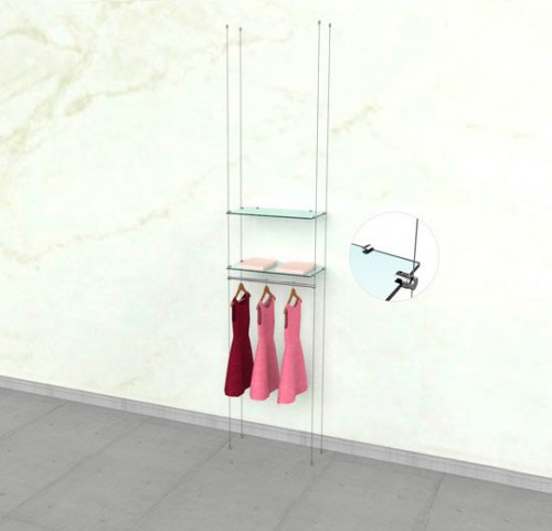 "Suspended Clothing Display Unit for Two Shelve and One 24"" Hanging Rail - Cable"