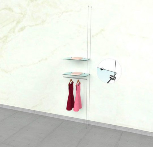 """Suspended Clothing Display Unit for Two Shelve and One 24"""" Hanging Rail - Extension Cable"""