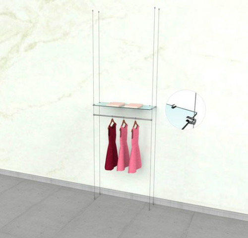 "Suspended Clothing Display Unit for One Shelve and One 36"" Hanging Rail - Cable"