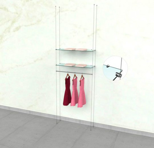 "Suspended Clothing Display Unit for Two Shelve and One 36"" Hanging Rail - Cable"