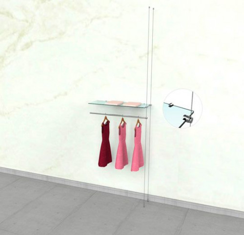 "Suspended Clothing Display Unit for One Shelve and One 36"" Hanging Rail -Extension Cable"