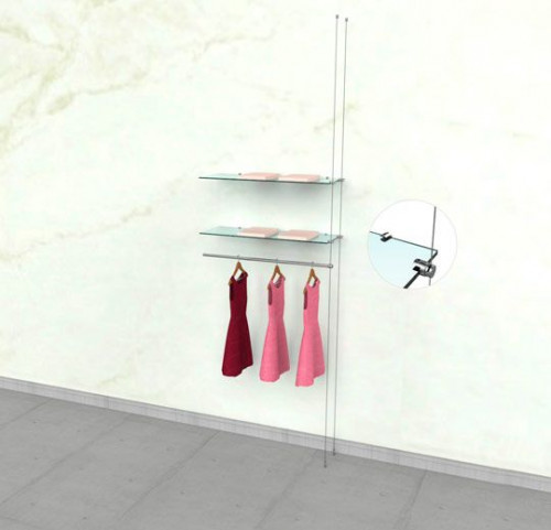 "Suspended Clothing Display Unit for Two Shelve and One 36"" Hanging Rail - Extension Cable"