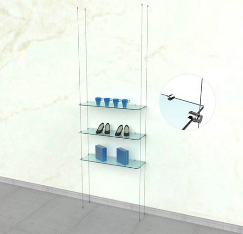 Suspended Shelving Unit for Three Glass Shelves with Wall Support - Cable